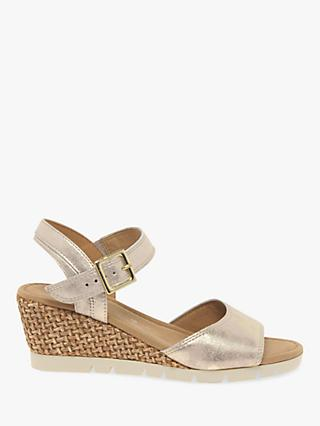 5f13998f9fc2c Gabor Nieve Wide Fit Wedge Heel Sandals, Gold Leather