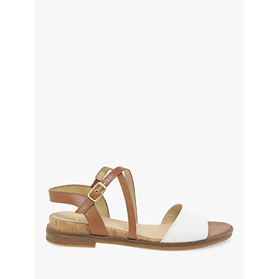 Gabor Impact Two Part Cross Strap Sandals, Tan/White Leather