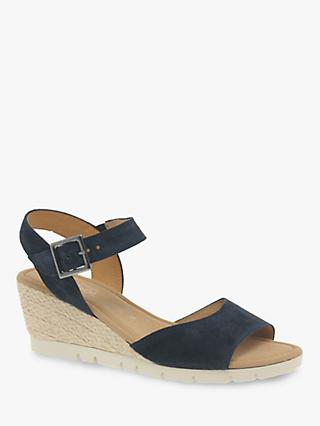Gabor Nieve Wide Fit Wedge Heel Sandals, Blue Suede