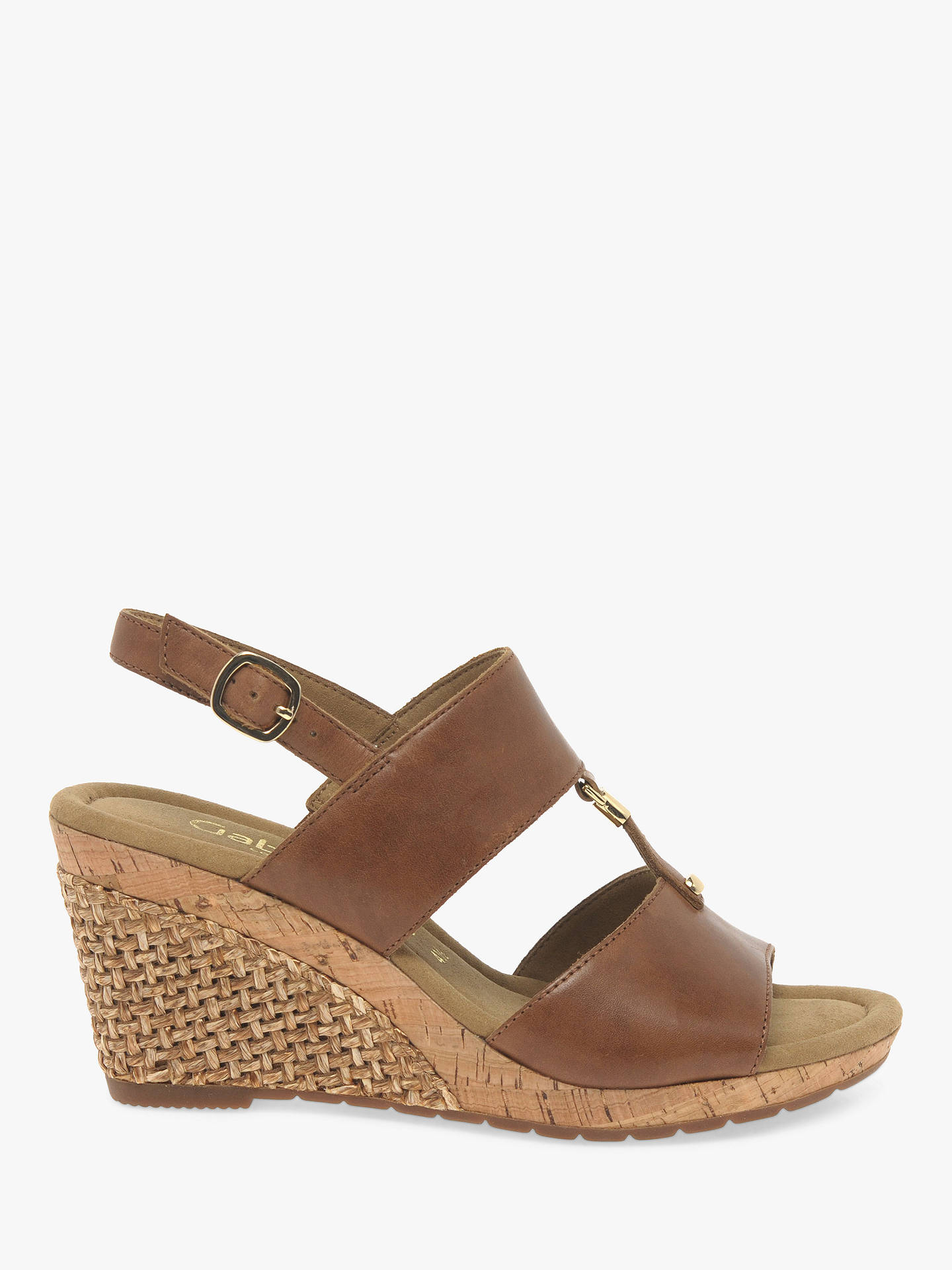 Gabor Keira Wide Fit Wedge Sandals, Peanut Leather John Lewis