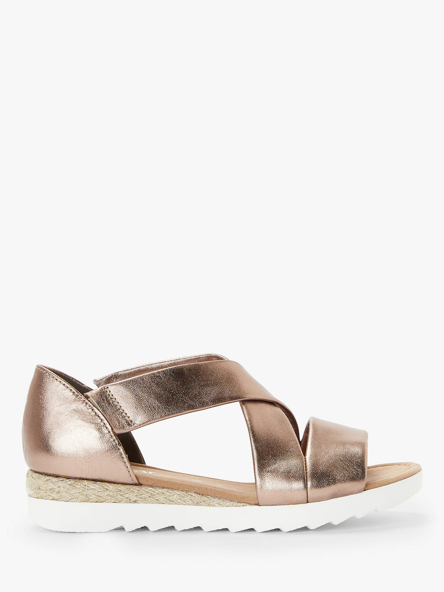 7406fea9907 Gabor Promise Wide Fit Low Wedge Sandals, Bronze