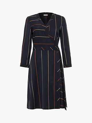Phase Eight Vana Stripe Wrap Dress, Navy/Multi