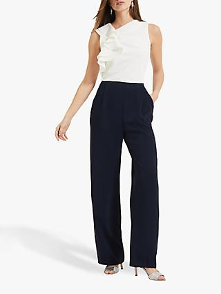Phase Eight Maeve Frill Jumpsuit, Ivory/Navy