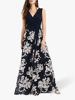 Phase Eight Medeline Maxi Lace Floral Dress, Navy/Oyster