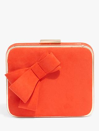 Phase Eight Allie Bow Front Box Clutch Bag, Vermilion Red