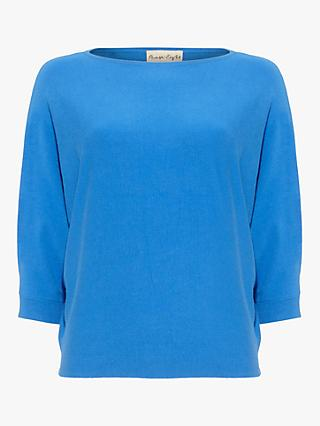 Phase Eight Cristine Batwing Knit Top, Sky Blue