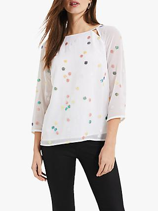 Phase Eight Evie-Rose Sequin Blouse, Ivory/Multi
