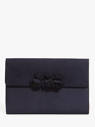 Phase Eight Ophelia Flower Clutch Bag, Navy
