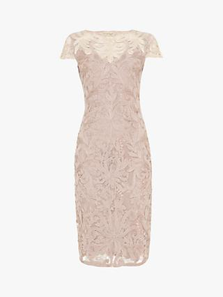 Phase Eight Jana Tapework Dress, Misty Mauve/Oyster