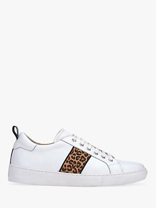 Mint Velvet Allie Striped Lace Up Trainers, White/Leopard Leather