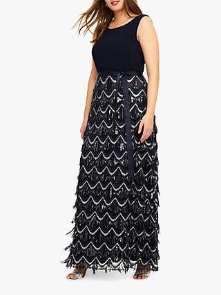 Studio 8 Ariel Beaded Maxi Dress, Navy/Silver