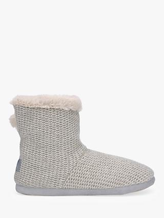 Hygge by Mint Velvet Knit Boot Slippers, Stone
