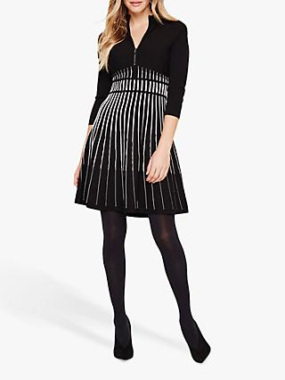 Damsel in a Dress Adela Stripe Knitted Tunic Dress, Black/White