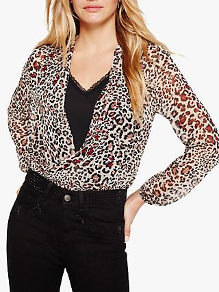 Damsel in a Dress Caley Animal Print Wrap Blouse, Neutral
