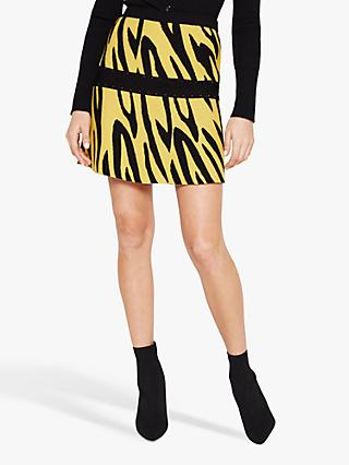 Damsel in a Dress Lia Zebra Print Skirt, Black/Yellow