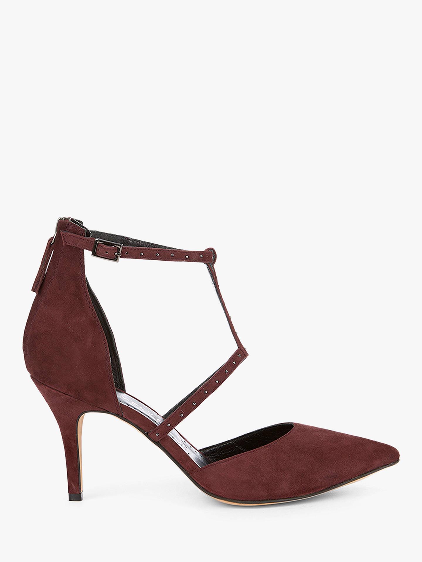 6bb0df5b61e Mint Velvet Nicole Strap Heel Court Shoes, Dark Red Suede