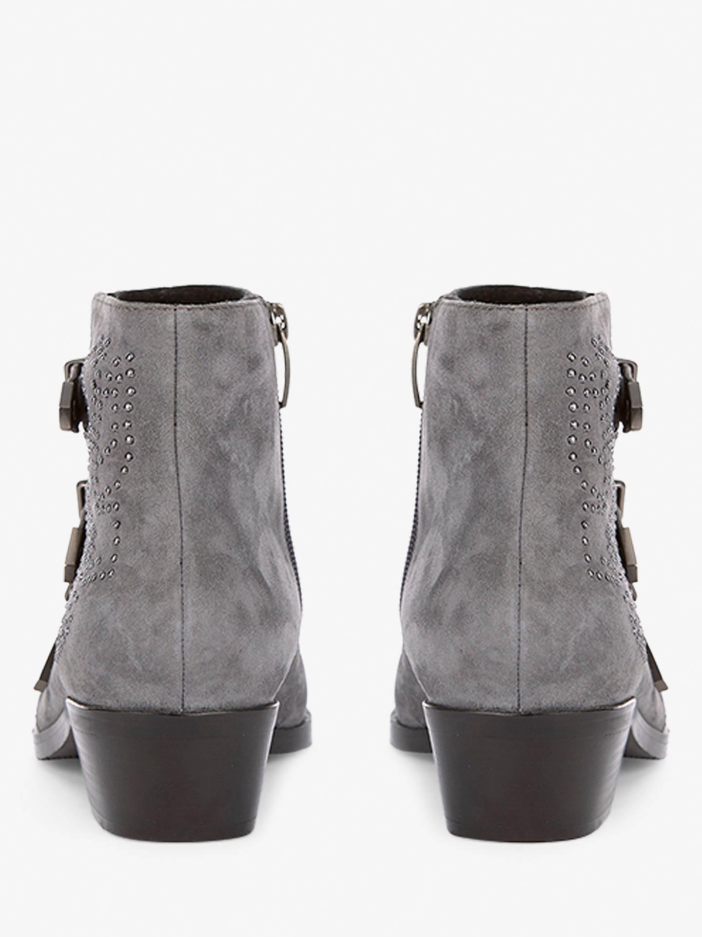 76a6303671a Mint Velvet Autumn Triple Buckle Ankle Boots, Grey Suede at John ...