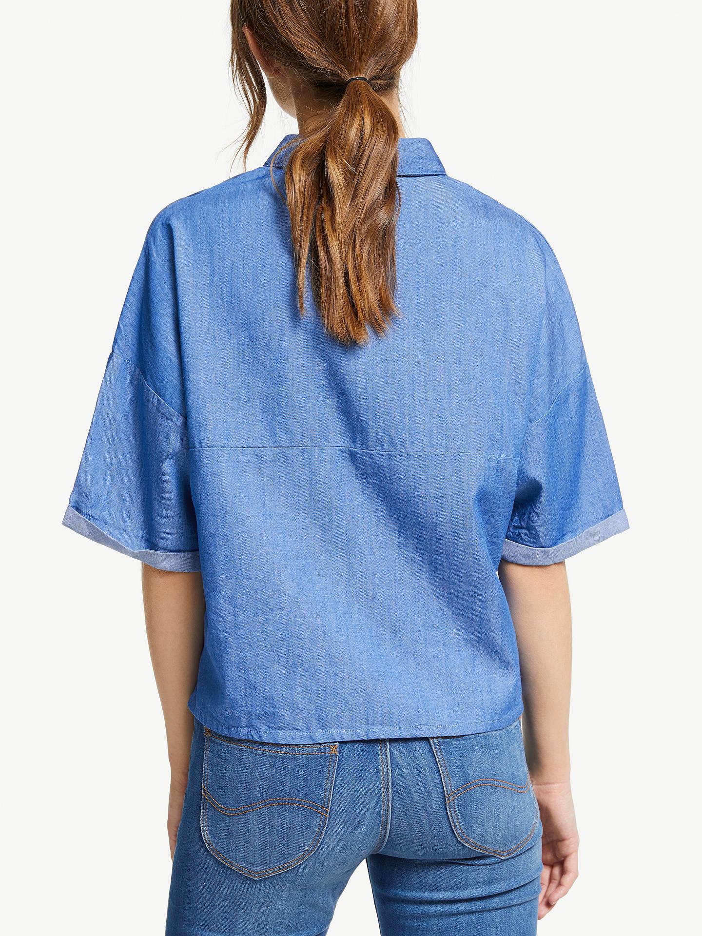 e0e096908f9ceb ... Buy Lee Cropped Denim Shirt, Dipped Blue, S Online at johnlewis.com ...