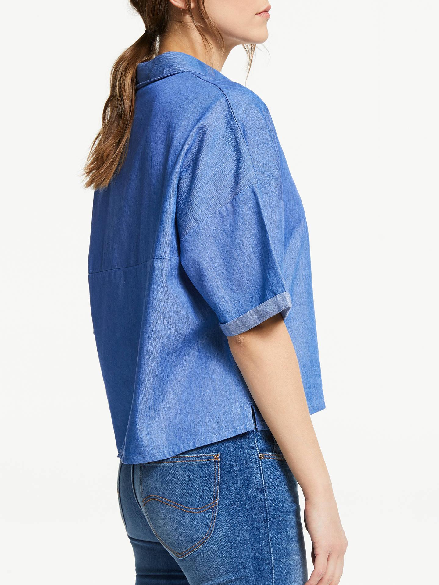4fd1e89a9134de ... Buy Lee Cropped Denim Shirt, Dipped Blue, S Online at johnlewis.com