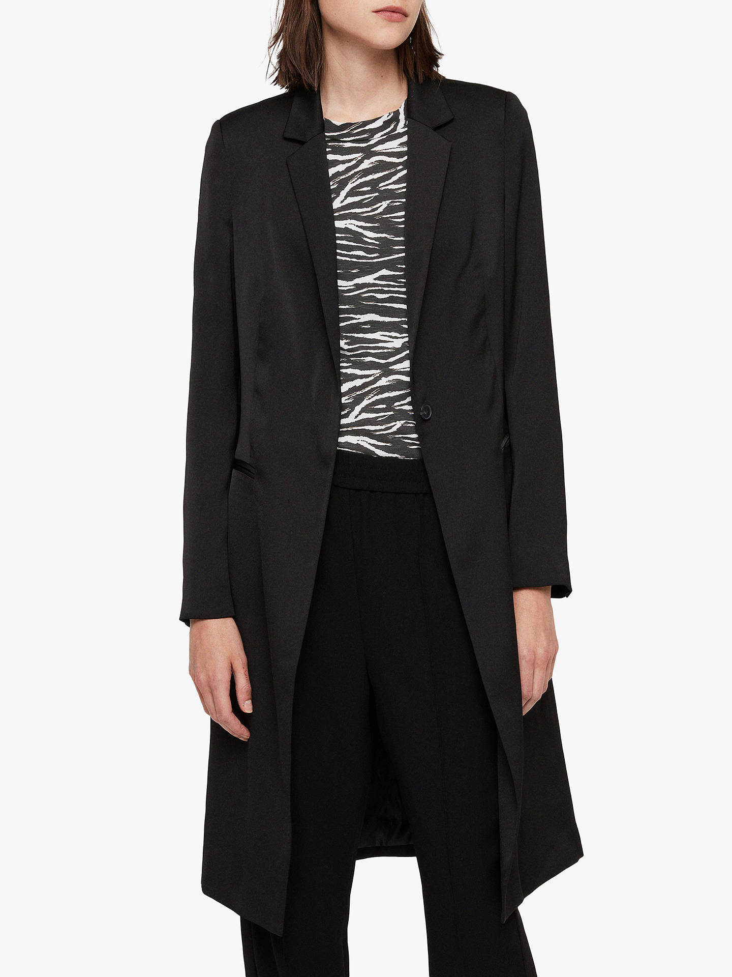 All Saints Nehru Satin Tailored Coat, Black by All Saints