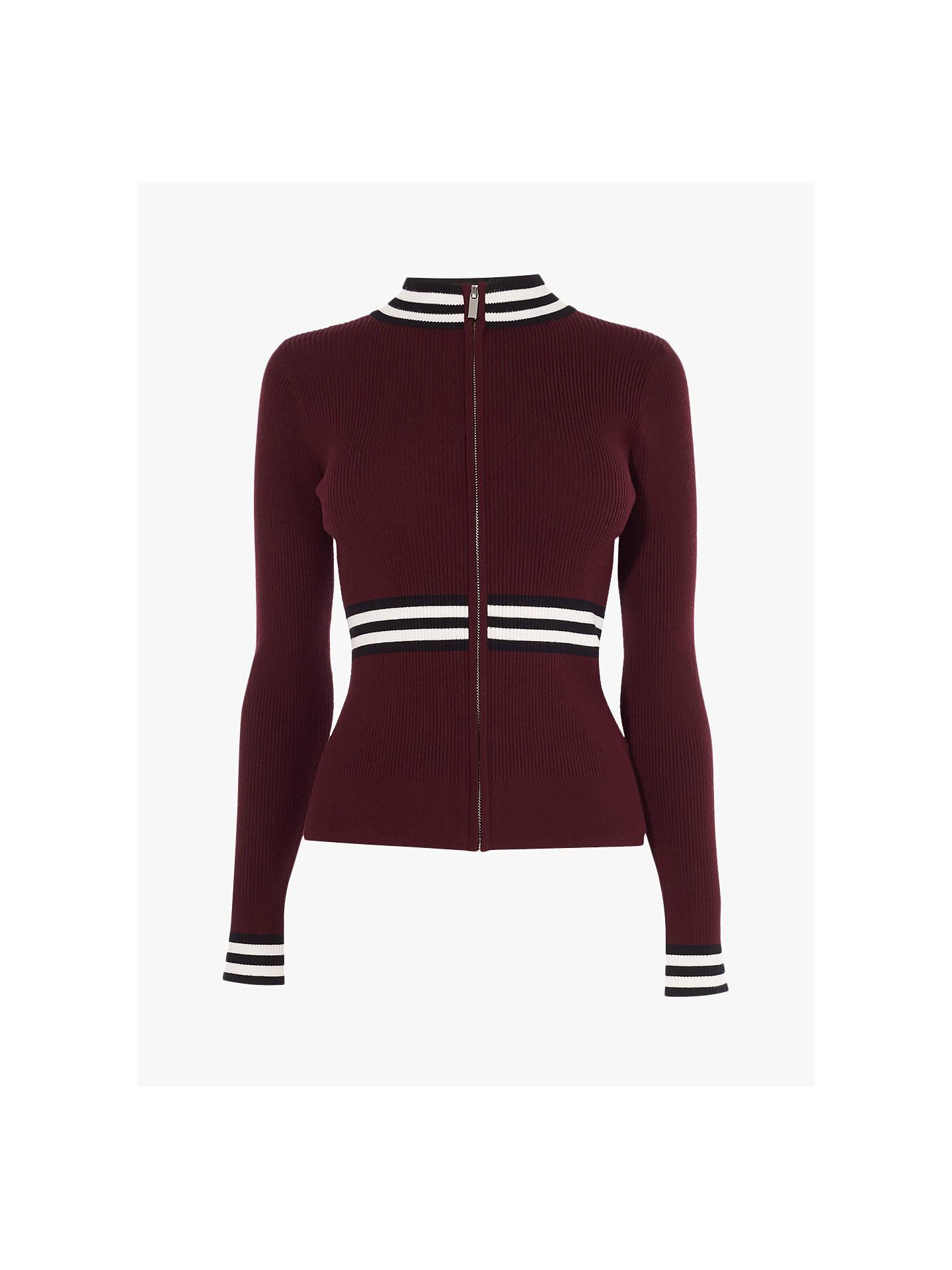 ce022dea7230f0 Buy Karen Millen Sports Stripe Zip Front Cardigan, Burgundy, XS Online at  johnlewis.