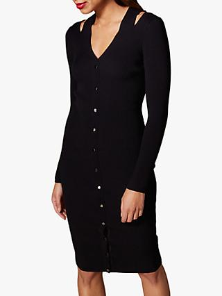 Karen Millen Ribbed Cut Out Detail Dress, Black