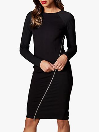 Karen Millen Zip Bodycon Dress, Black