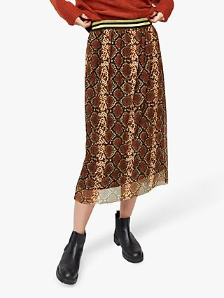 Warehouse Snake Print Mesh Midi Skirt, Red Pattern