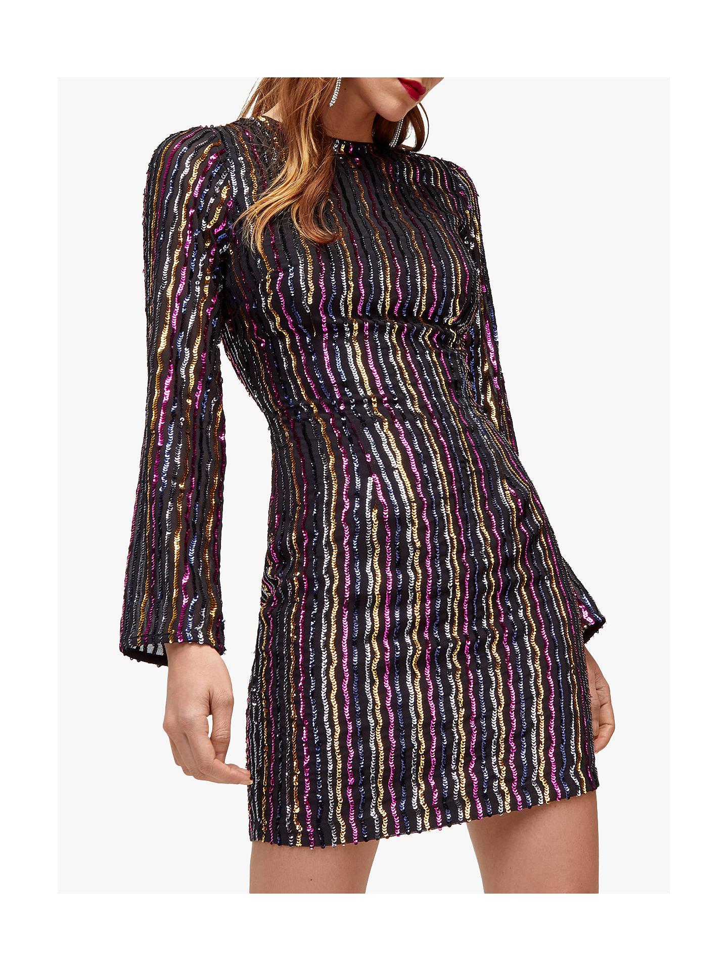 759905613b22d Warehouse Stripe Sequin Dress, Multi at John Lewis & Partners