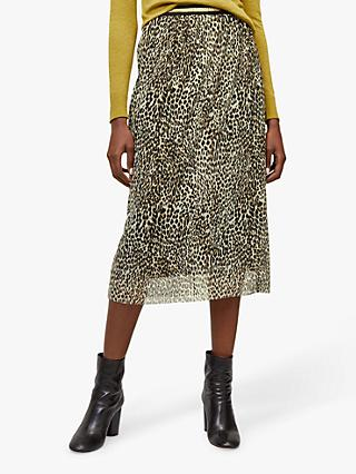 Warehouse Animal Print Mesh Midi Skirt