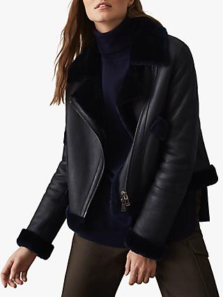 Reiss Daisy Shearling Leather Jacket, Navy