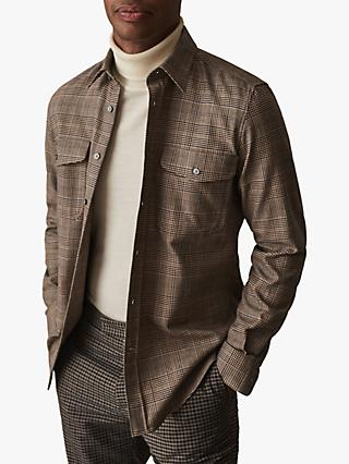 Reiss Brees Twin Pocket Check Shirt, Brown
