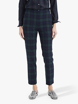 J.Crew Martie Check Stretch Trousers, Navy/Multi