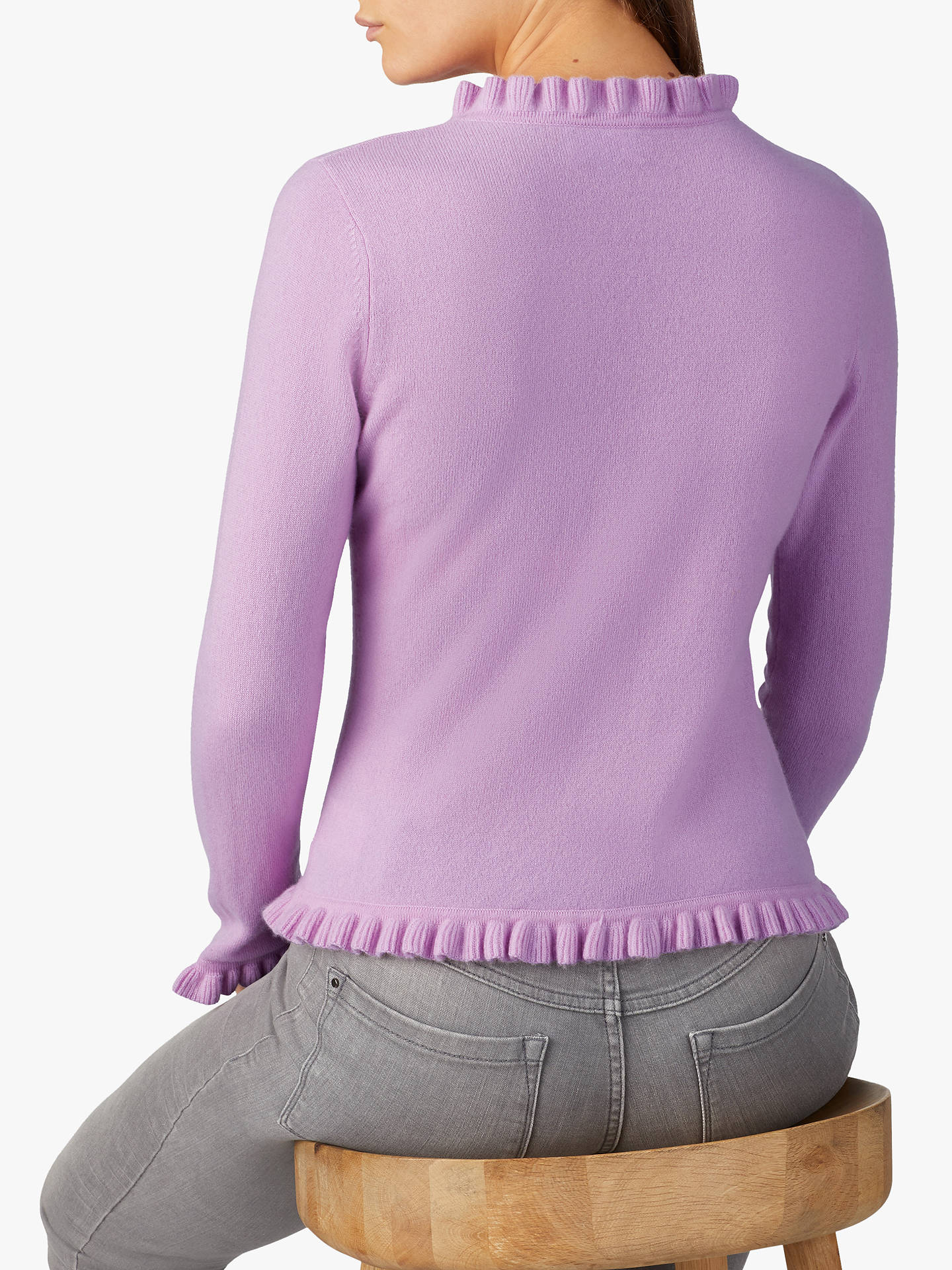 BuyPure Collection Fewston Ruffle Edge Cashmere Cardigan, Lilac, 8 Online at johnlewis.com