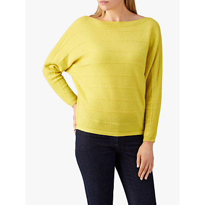 Pure Collection Ribbed Batwing Cashmere Sweater, Chartreuse