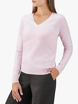 Pure Collection V-Neck Cashmere Sweater, Rose Mist