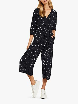 Mint Velvet Ink Spot Jumpsuit, Black
