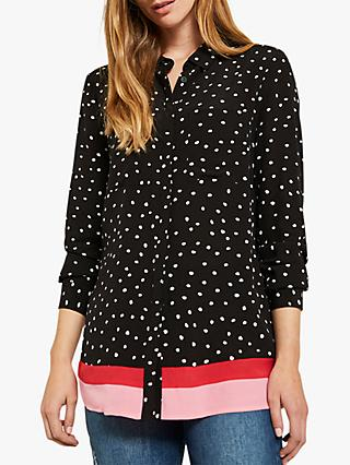 Mint Velvet Spot Stripe Hem Shirt, Multi