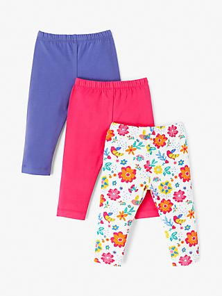 8705ac714c101 John Lewis & Partners Baby Floral Leggings, Pack of 3, Multi