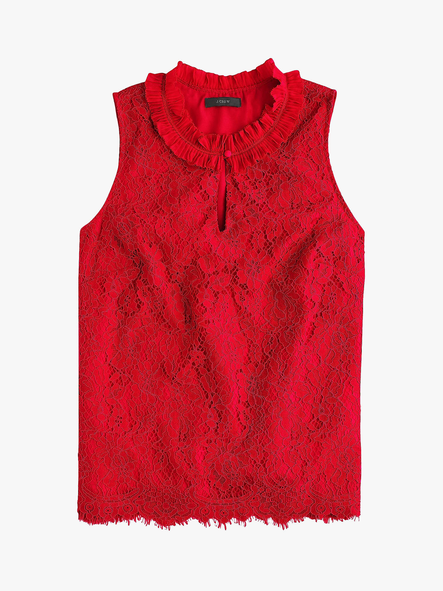 Jcrew Lace Ruffle Neck Top At John Lewis Partners