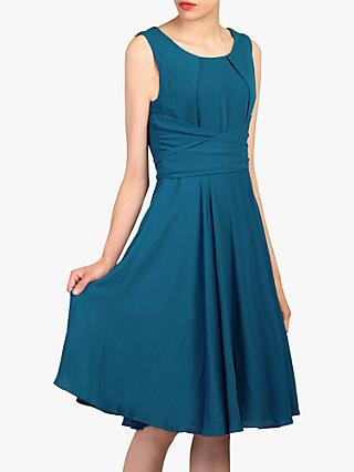 Jolie Moi Ruched Belt Flare Dress