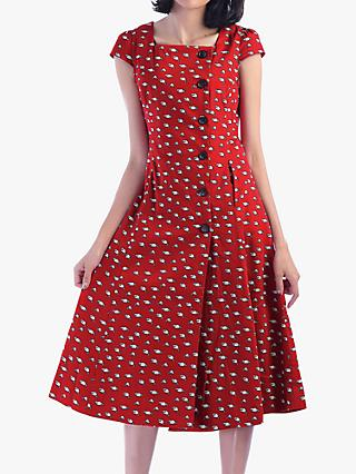 Jolie Moi Button Front Dress, Red Racoon