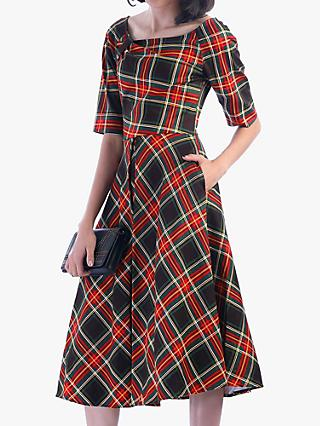 Jolie Moi Check Print Swing Dress, Green/Red