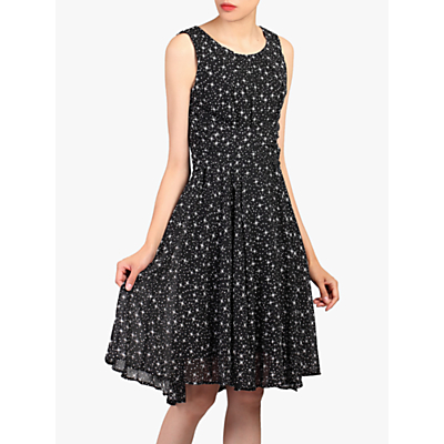 Jolie Moi Star Print Dress, Black