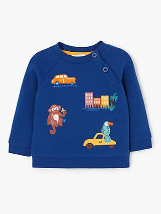 John Lewis & Partners Baby Monkey Badge Sweatshirt, Blue