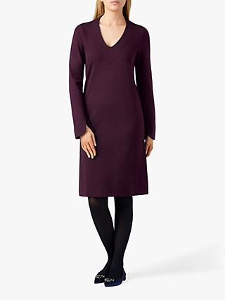 Pure Collection Ponte V-Neck Dress, Plum