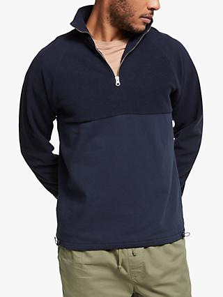 Les Basics Le Zip Sweat Solid Sweatshirt, Navy