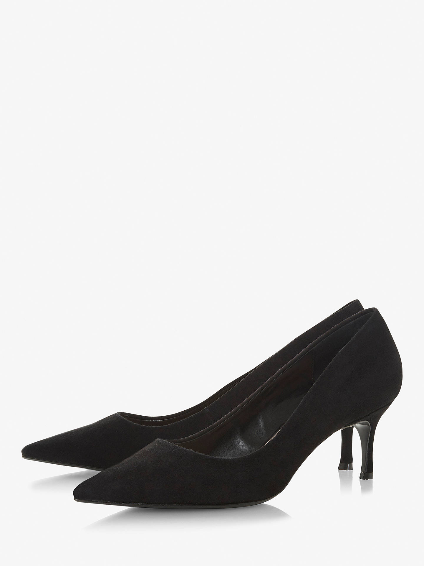 BuyDune Astal Pointed Toe Court Shoes, Black Suede, 3 Online at johnlewis.com