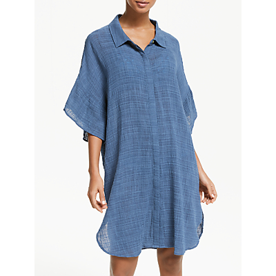 Seafolly Ruffle Sleeve Beach Shirt, Blue