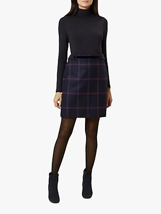 Hobbs Riley Check Wool Skirt, Navy/Pink
